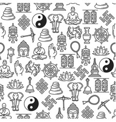 Buddhism religion line symbols seamless pattern vector