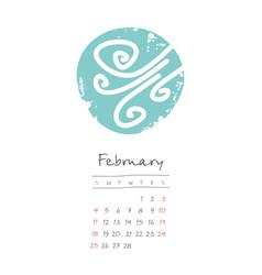 Calendar 2018 months february week starts sunday vector