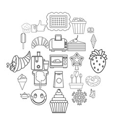 Candy shop icons set outline style vector