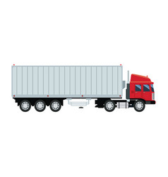 Cargo delivery truck with cargo container shipping vector