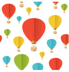 cartoon color hot air ballon seamless pattern vector image