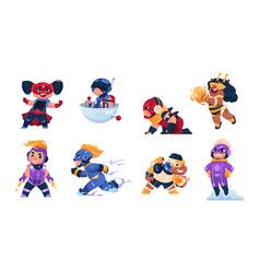 cartoon superhero child funny kids mascots boys vector image
