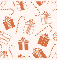 christmas gifts and candy cane seamless pattern vector image