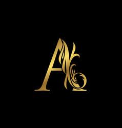 Classy elegant gold a letter floral logo vintage vector