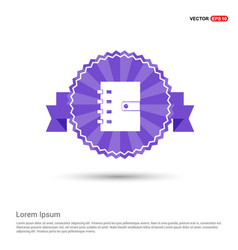 contact book icon - purple ribbon banner vector image
