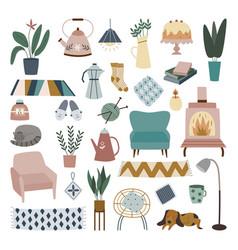 Cozy home decoration set - cute house plant rug vector