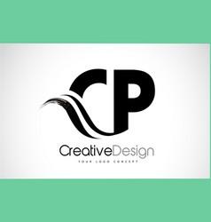 cp c p creative brush black letters design vector image