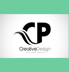 Cp c p creative brush black letters design with vector