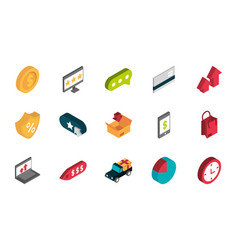 ecommerce business internet icons set isometric vector image