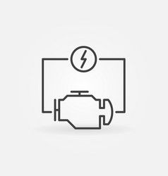Electric car engine concept icon in thin vector