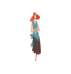 Elegant woman in blue retro dress and red hat vector