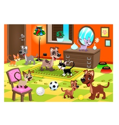 Family of cats and dogs in the house vector
