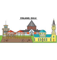 Finland oulu city skyline architecture vector