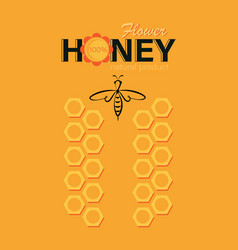 Flower honey linear bee logo honeycomb and the vector