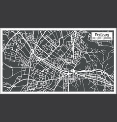 freiburg germany city map in retro style outline vector image