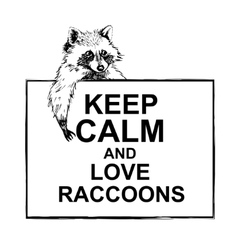 Funny and touching raccoon lies on banner keep vector image