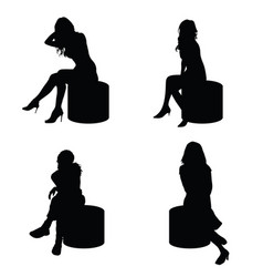 girl lady silhouette sitting in black color vector image