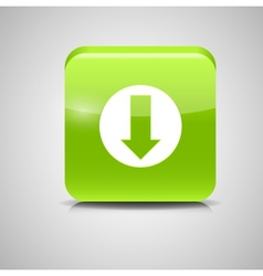 Glass Download Button Icon vector