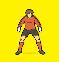 goalkeeper actionprepare catches ball vector image