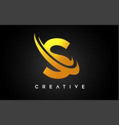 Golden letter s logo s letter design with golden vector