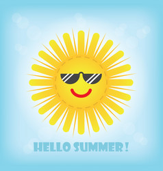 hello summer smiling yellow sun emoji icon with vector image