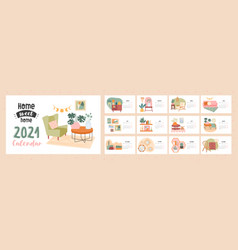 home sweet 2021 calendar template vector image
