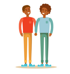 Homosexual love gay couple with hand in hand vector