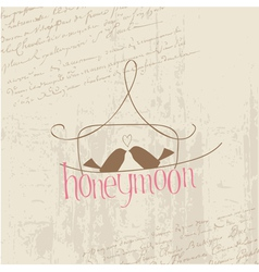 Honeymoon love birds card vector
