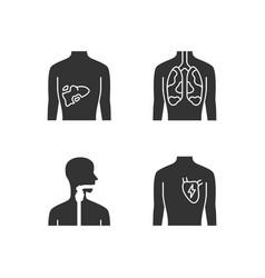 ill human organs glyph icons set sore liver vector image