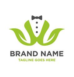 initial green leaf logo v vector image