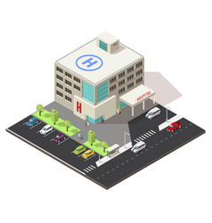 Isometric hospital building concept vector
