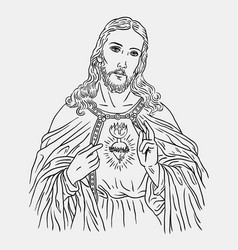 Jesus christ catholic religion sketches vector