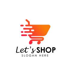 Lets shopping logo design template shopping cart vector