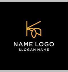 letter k leaf logo vector image
