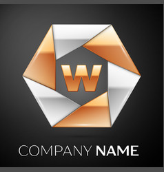 letter w logo symbol in the colorful hexagon on vector image