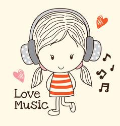 little girl listen music vector image