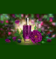 Lotion or summer perfume with wild berries rose vector