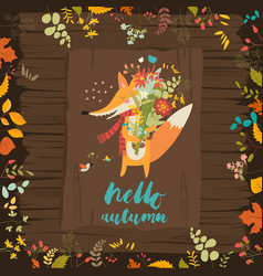 lovely autumn card with a fox and flowers vector image