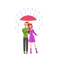 loving couple in rain romantic young vector image