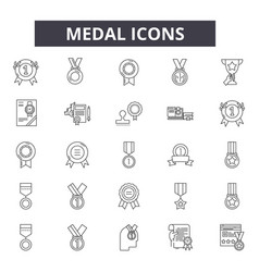 medal line icons signs set linear vector image