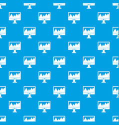 Monitor and a chart pattern seamless blue vector
