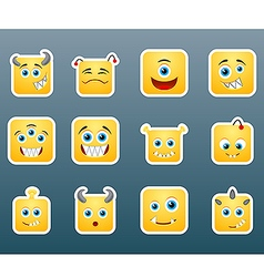 Monster smile stickers vector image