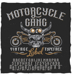 Motorcycle gang label typeface poster vector