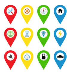 Navigation icons in bright flat style vector