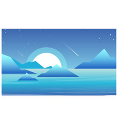 night landscape with lake vector image