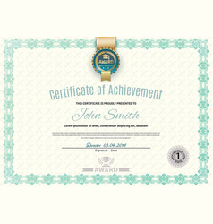 Official white certificate of a4 format with green vector
