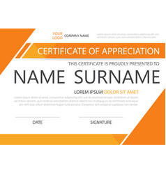 Orange elegance horizontal certificate with vector