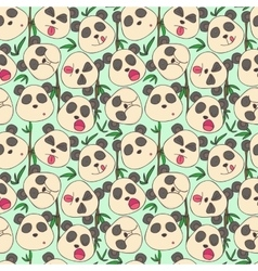 Pattern of cheerful muzzles pandas vector