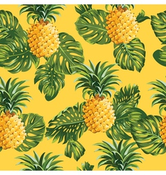Pineapples and Tropical Leaves Background vector image