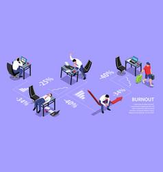Professional burnout infographics vector